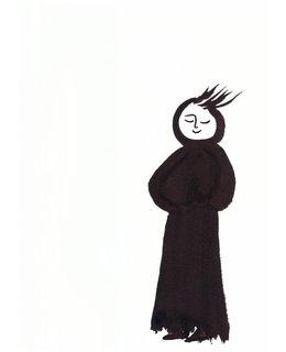 Een Sumi-e met scroll van wolvilt 'Lopend mediteren'