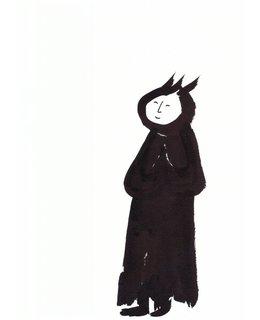 Penseelschildering met scroll: 'KINHIN, lopen met aandacht en gaan zonder doel'.