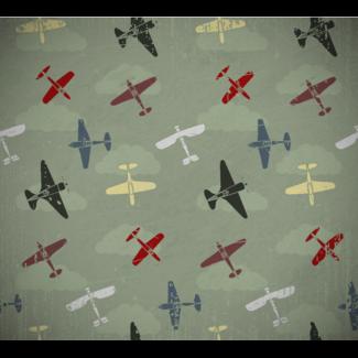 ViceVinyls Vliegtuigjes vintage groene achtergrond