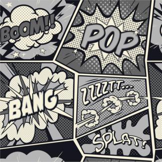 ViceVinyls Pop Art shout grijs