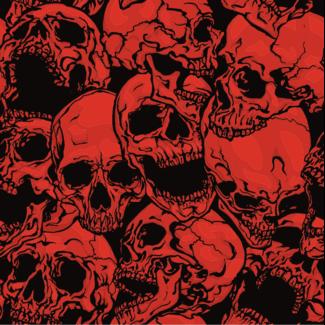 ViceVinyls Camo skulls rood zwart