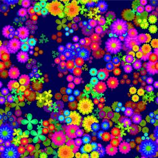 ViceVinyls Neon bloemen blauw