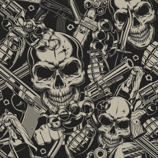 ViceVinyls Camo fighter skulls grijs zwart