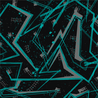 ViceVinyls Race geometric patroon zwart turquoise