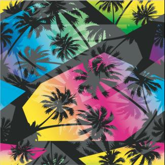 ViceVinyls Zwarte palmbomen fluor kleuren