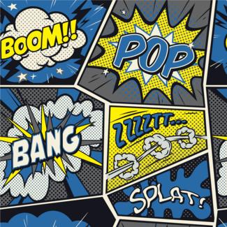 ViceVinyls Pop Art shout blauw geel grijs