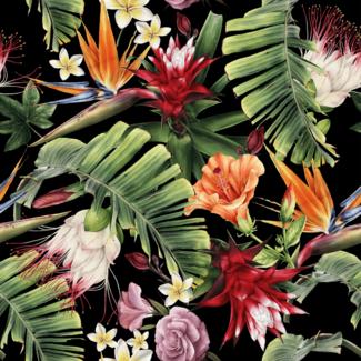 ViceVinyls Aquarel tropische bloemen zwart