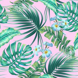 ViceVinyls Exotische plant roze achtergrond