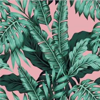 ViceVinyls Tropische bladeren roze achtergrond
