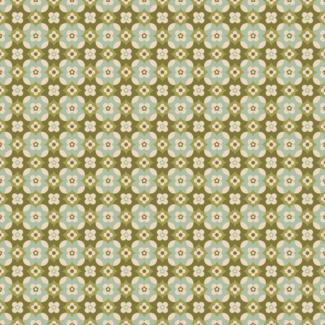 ViceVinyls Retro bloemen groen turquoise patroon