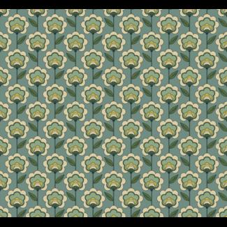 ViceVinyls Retro bloemen groen patroon