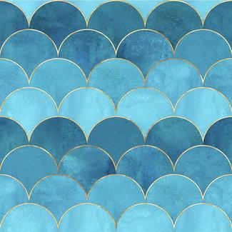 ViceVinyls Japans tegel patroon blauw turquoise