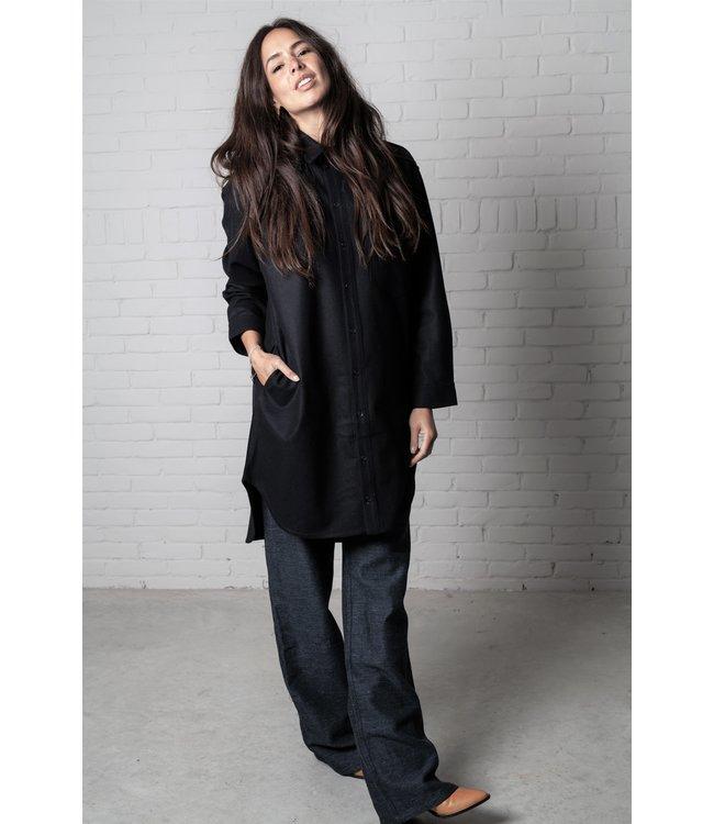 Monique van Heist Blouse No 5 navy wool.