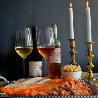 Tjotter Amsterdam Vis borrelplateau 4 personen incl. wijn