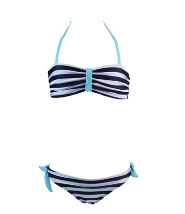 Lentiggini Girls bandeau bikini (Stripe navy-white + light aqua)