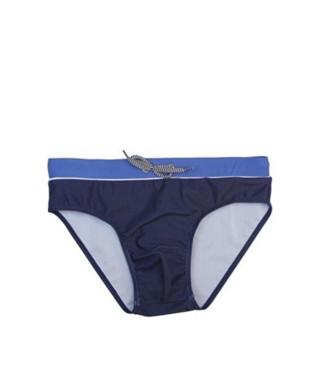 Lentiggini Men Swim Slip (Mid blue + white + navy)
