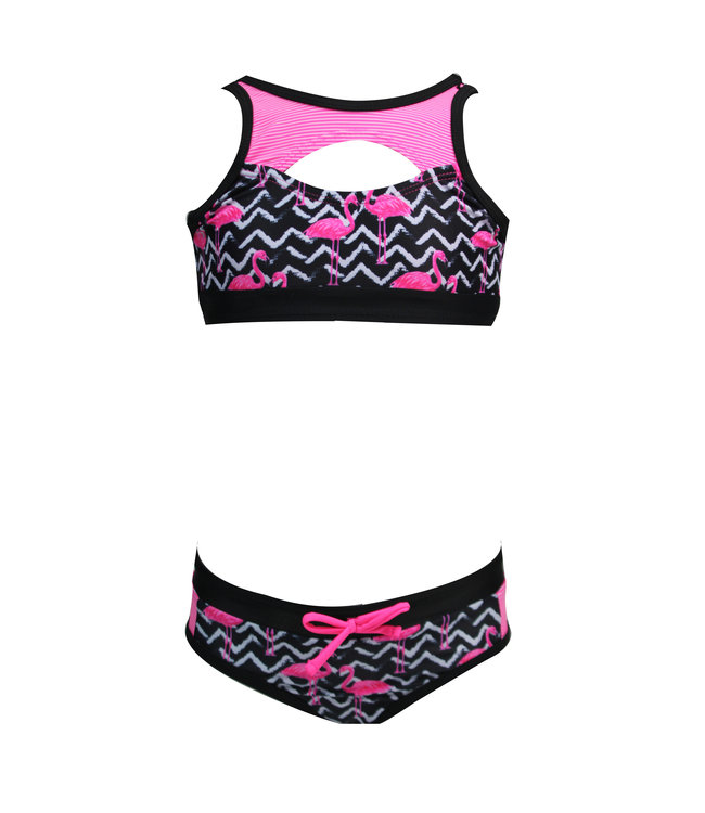 Lentiggini Girls Tanktop bikini (Aop black + white + neon pink)