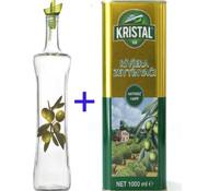 Olijfolie Glazen Fles 750cc + 1 liter Natuurlijke olijfolie