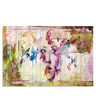 Schilderij Portret van vogels en vlinders , 2 maten , multikleur (wanddecoratie)