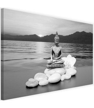Schilderij Boeddha aan de kust , 2 maten , zwart wit grijs (wanddecoratie)