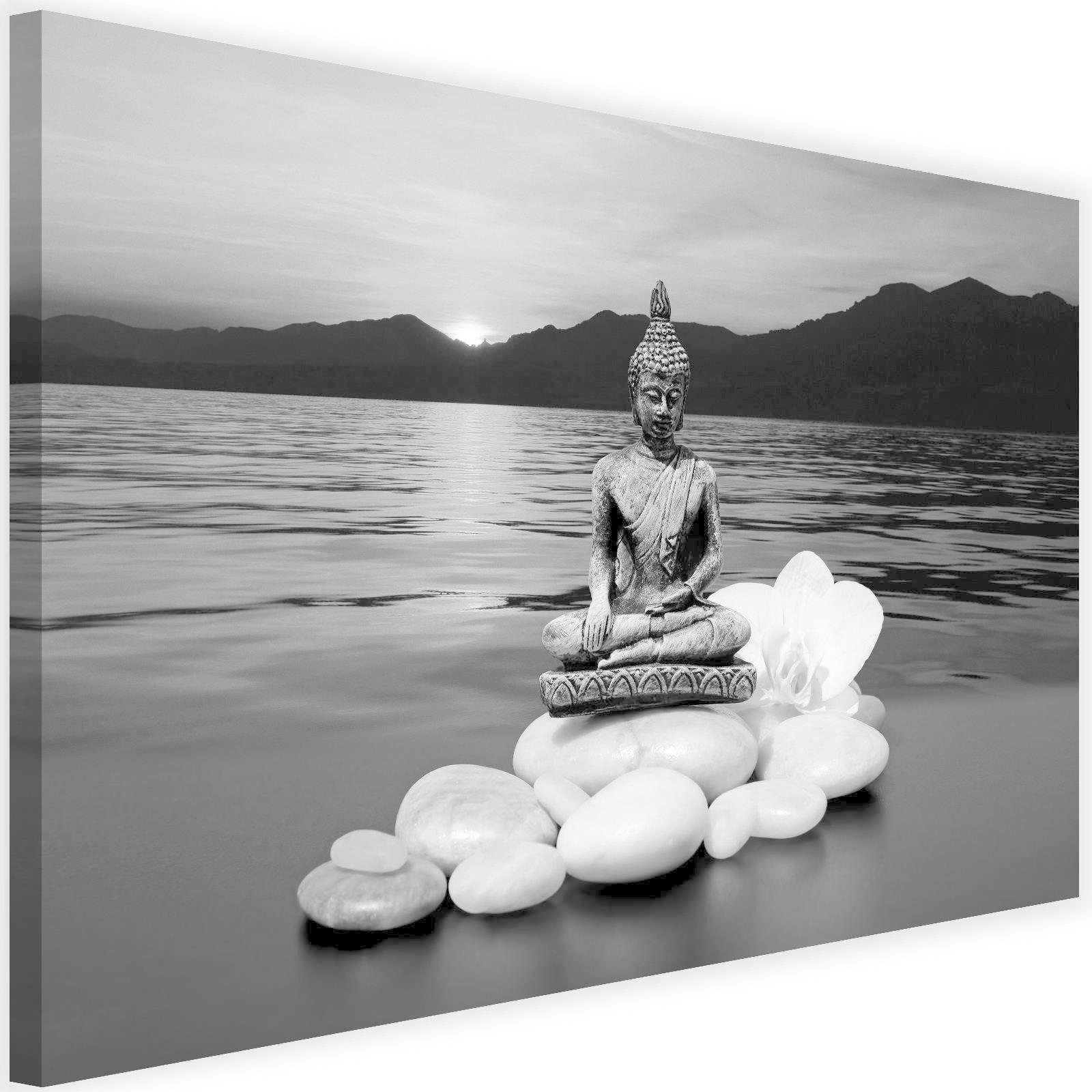 Schilderij Boeddha Aan De Kust 2 Maten Zwart Wit Grijs Tesca Art
