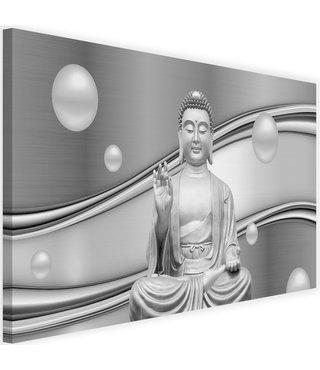 Schilderij Mediterende Boeddha tussen witte bollen , 2 maten , grijs (wanddecoratie)