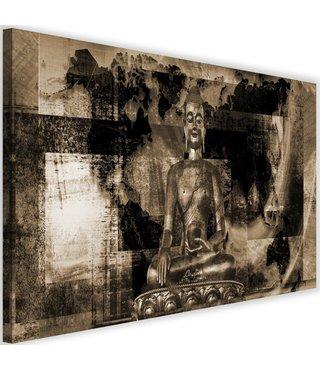 Schilderij Boeddha voor abstracte achtergrond , 2 maten , bruin beige (wanddecoratie)
