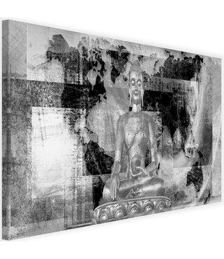 Schilderij Boeddha voor abstracte achtergrond , 2 maten , grijs wit (wanddecoratie)