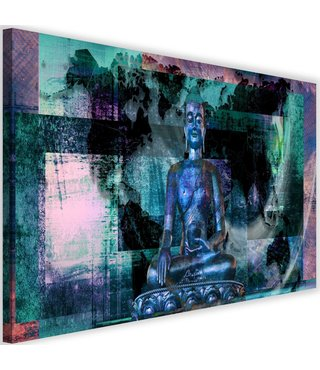 Schilderij Boeddha voor abstracte achtergrond , 2 maten , blauw zwart (wanddecoratie)