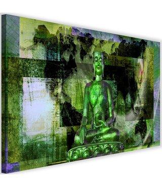 Schilderij Boeddha voor abstracte achtergrond , 2 maten , groen zwart (wanddecoratie)