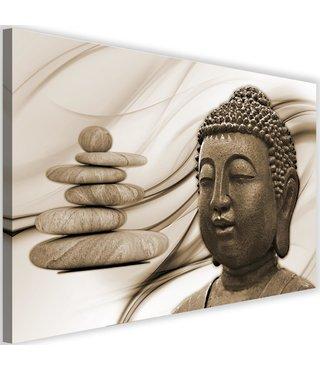 Schilderij Boeddha en Zenstenen , 2 maten , bruin beige (wanddecoratie)