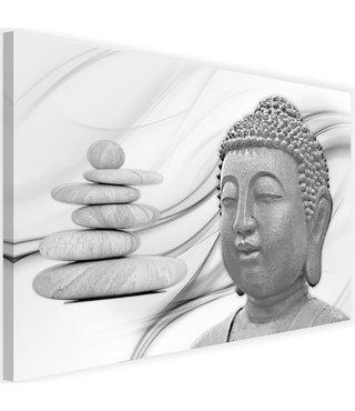 Schilderij Boeddha en Zenstenen , 2 maten , grijs wit (wanddecoratie)