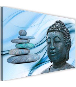 Schilderij Boeddha en Zenstenen , 2 maten , grijs blauw (wanddecoratie)