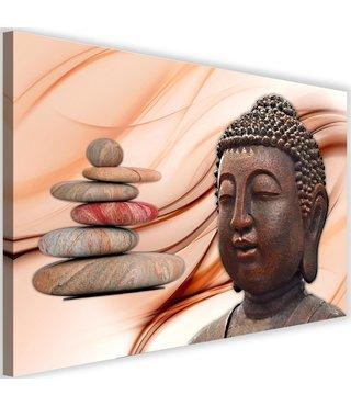 Schilderij Boeddha en Zenstenen , 2 maten , roze bruin (wanddecoratie)