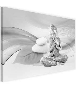 Schilderij Boeddhabeeld en stenen, 2 maten , grijs wit (wanddecoratie)