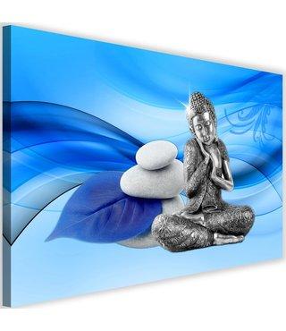 Schilderij Boeddhabeeld en stenen, 2 maten , grijs blauw (wanddecoratie)