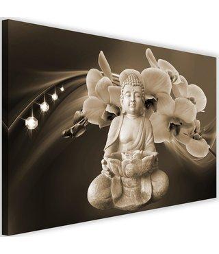 Schilderij Boeddha met orchideeën , 2 maten , beige bruin (wanddecoratie)