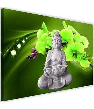 Schilderij Boeddha met orchideeën , 2 maten , grijs groen (wanddecoratie)