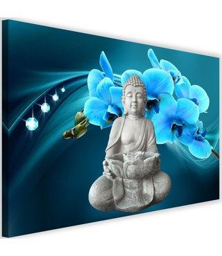 Schilderij Boeddha met orchideeën , 2 maten , grijs blauw (wanddecoratie)