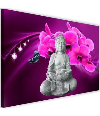 Schilderij Boeddha met orchideeën , 2 maten , grijs paars (wanddecoratie)