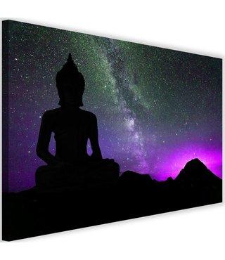 Schilderij Boeddha met Noorderlicht , 2 maten , zwart paars (wanddecoratie)