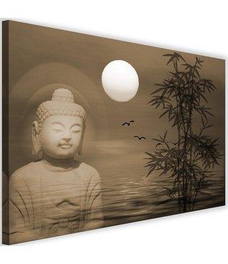 Schilderij Boeddha bij zonsondergang, 2 maten, beige, Premium print