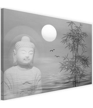 Schilderij Boeddha bij zonsondergang, 2 maten, zwart-wit, Premium print
