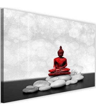 Schilderij Boeddha op stenen, 2 maten, zwart-wit/rood, Premium print