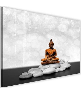 Schilderij Boeddha op stenen, 2 maten, zwart-wit/oranje, Premium print