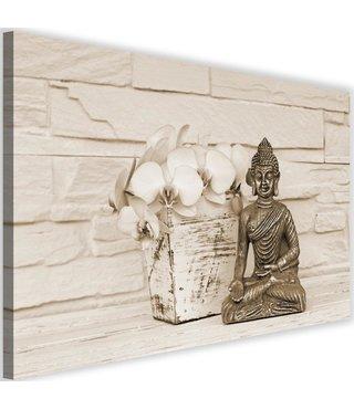 Schilderij Boeddha met bloem, 2 maten, beige, Premium print