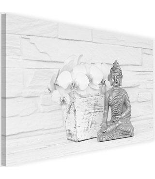 Schilderij Boeddha met bloem, 2 maten, zwart-wit, Premium print