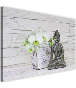 Schilderij Boeddha met bloem, 2 maten, wit/grijs/groen, Premium print
