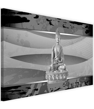 Schilderij Boeddha abstractie, 2 maten, zwart-wit, Premium print