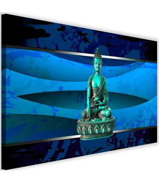 Schilderij Boeddha abstractie, 2 maten, blauw, Premium print